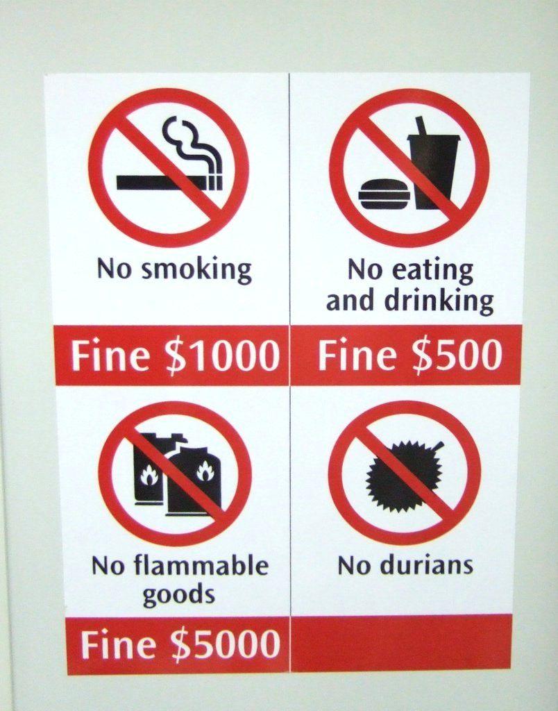 ドリアン禁止看板