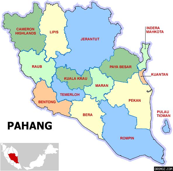 パハン州の各都市の地図