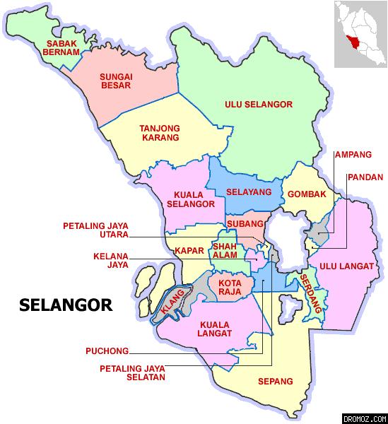 マレーシアのスランゴール州地図
