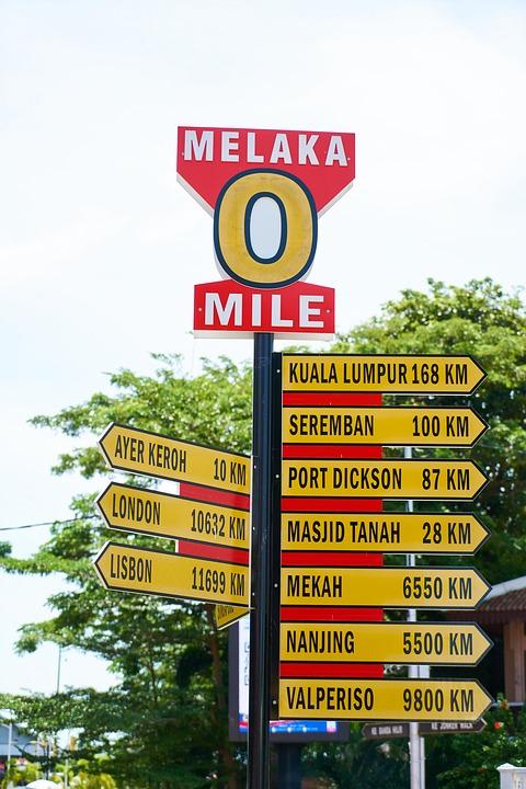 マラッカの0マイル標識