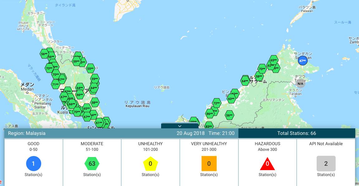 マレーシアの大気汚染指数