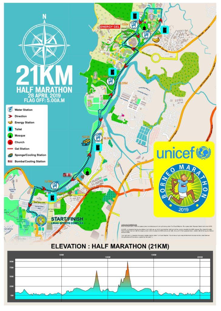 コタキナバルで開催される国際マラソンルート