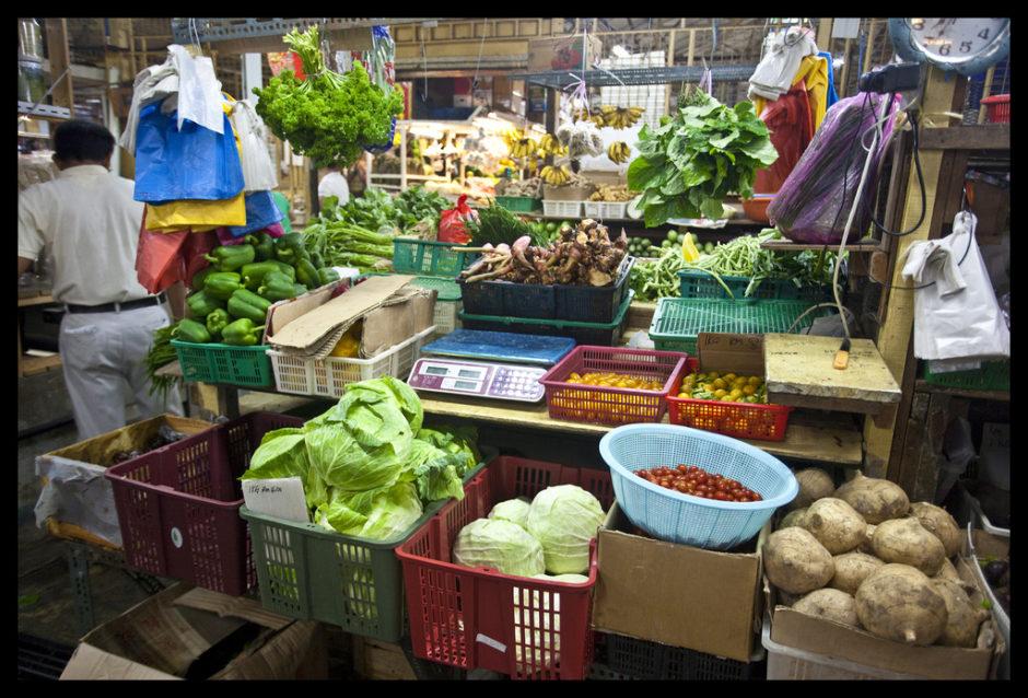 マレーシアペナンの野菜屋さん。マレーシア独特の野菜も
