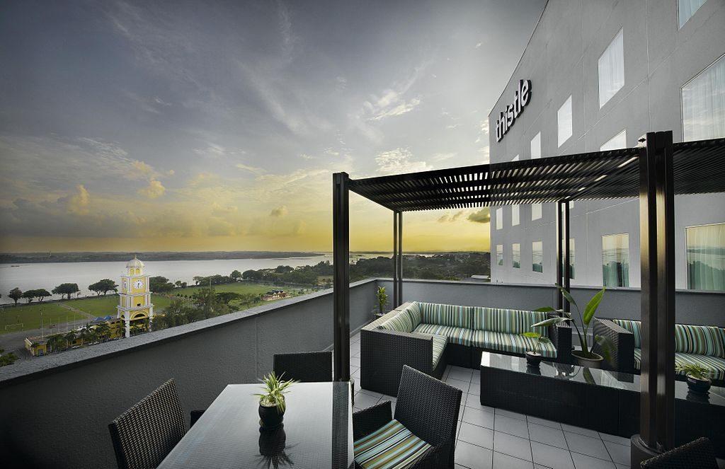 ジョホールバルにあるシスルホテルのクラブラウンジからの風景