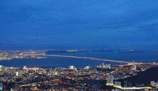 マレーシア、ペナン島、ペナンヒルからの夜景